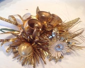 Vintage Gold Christmas Corsage ~ Mercury Glass Corsage ~ Gold and White Christmas Decor ~ Tinsel Flowers with Bells ~ Christmas Parties
