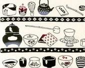 Japanese Tenugui Cotton Fabric, Japanese Green Tea Ceremony Set, Water Pot, Tea Bowl, Traditional Ware, Wall Art Hanging, Wall Decor, r076