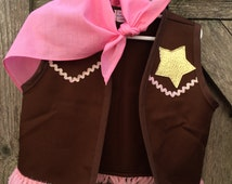 Sheriff Callie inspired costume vest/gold star, sparkly trim & pink scarf