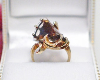 Vintage gemstone ring band solid 10k yellow gold size 4.5 4 1/2 abstract design smokey spinel  filigree wavy freeform