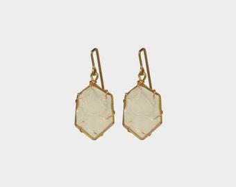 Small Hex Leather Earring in Bone | R15-E18XS BONE