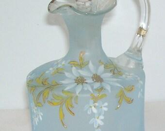 Pale Blue Satin Glass Vinegar Oil Cruet, Hand Painted White Daisies, Hand Blown, Applied Handle, Art Deco Fancy Cruet, Collectible Glass