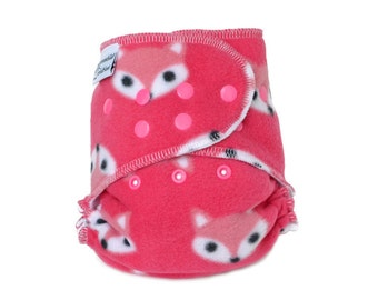Cloth Diaper Cover OS, Fleece - Foxes, pink