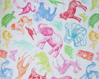 Tossed Etched Animals Elephant Cat Giraffe Octopus Timeless Treasures Fabric Yd