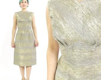 20% OFF SALE 1960s Gold Dress 60s Wiggle Dress Metallic Brocade Dress Fancy Formal Dress 1960s Party Dress Sleeveless Knee Length Mad Men (X