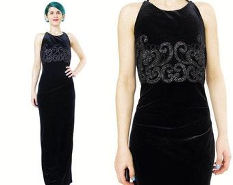25% off SALE 90s Black Velvet Evening Gown Velvet Evening Dress Sparkly Glitter Maxi Dress Criss Cross Back Long Dress Black Velvet Prom Dre