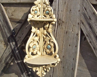 Syroco Wood Shelf Shabby Cottage Chic Corner Shelf Vintage Made in USA Two Shelf