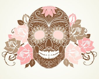 Skull and Roses-Digital Immediate Download-Digital Clipart-Day of the Dead-Skull-Roses
