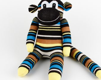 Handmade Yellow Navy Striped Sock Monkey Stuffed Animal Doll Baby Gift Toys