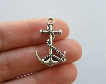 2 Anchor charms antique silver tone SC67
