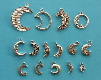 The Moon Collection - 15 different antique silver tone charms