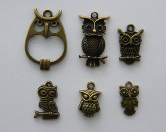 The Bronze Owl Collection - 6 different antique bronze charms