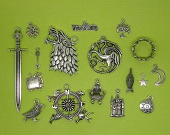 The TV Collection - 17 different antique silver tone charms CC5