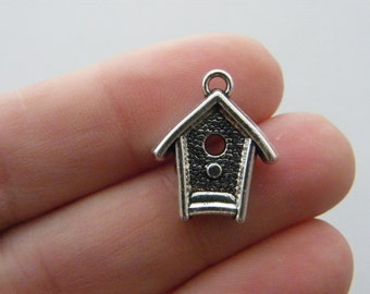 BULK 20 Bird house charms antique silver tone B159