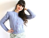ON SALE Vintage Cardigan / 1980s Periwinkle Blue Knit Cardigan