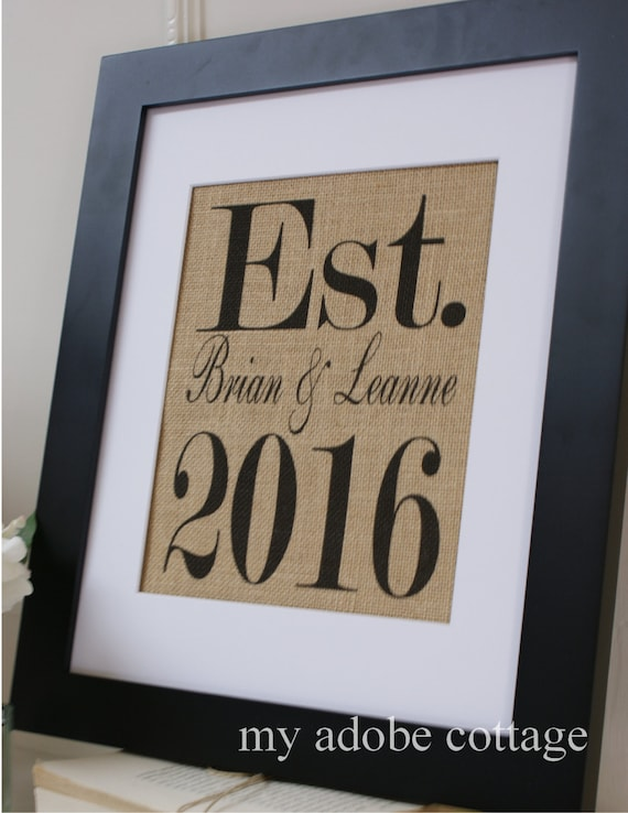 Free US Shipping...Personalized Engagement & Wedding Date Burlap Print...You Choose the Year