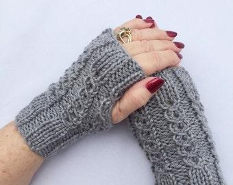 Gray Fingerless Gloves, Fingerless Gloves, Knit Hand Warmers, Texting Gloves, Driving Gloves, Fingerless Mitts, Hand Warmers, Knit Mitts