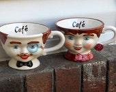 Vintage Character Cafe Coffee Mugs Man Woman