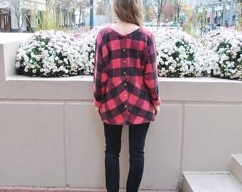 Sale Cecile- Plaid button back tunic/ Raglan sweater/Loose sweater/Raglan wide sleeves/Made in USA/ November/custom sizes/