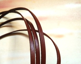 5x2mm brown Genuine leather cord Flat leather cord brown leather strip brown strip date brown flat cord