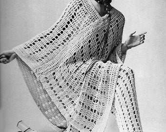 SALE**** Crochet Pattern 1960s Poncho and Pants/Trousers - Retro Boho Suit Swinging Sixties