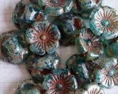 12x5mm Teal Picasso Flower Button Beads - Czech Glass Beads - Czech Glass Buttons - Picasso Glass Beads - Bead Soup Beads
