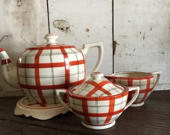 Takito teapot hand painted plaid orange black ivory with ceramic trivet sugar bowl and creamet Made in Japan Vintage kitchen decor