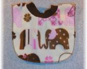 Baby girl bib pink brown elephant fleece print for baby through toddler years