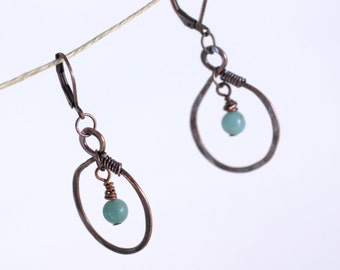 Amazonite and Copper Hand Forged Earrings, blue gemstone, antiqued copper, wire wrap, bead