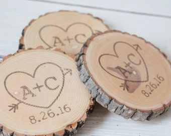 Personalized Rustic Wedding Favors Ash Coasters Hand Stamped and Finished - Set  of 50