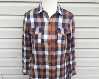 Vintage 70s Plaid Shirt Dress