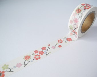 10 Meter Roll of Washi Japanese Cherry Blossom Flowers 15mm DIY Diary Deco Journal