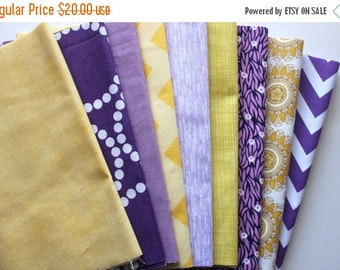 "SuperBowl Sale Purple and yellow custom 8.5"" strip pre-cut bundle, 9 total"
