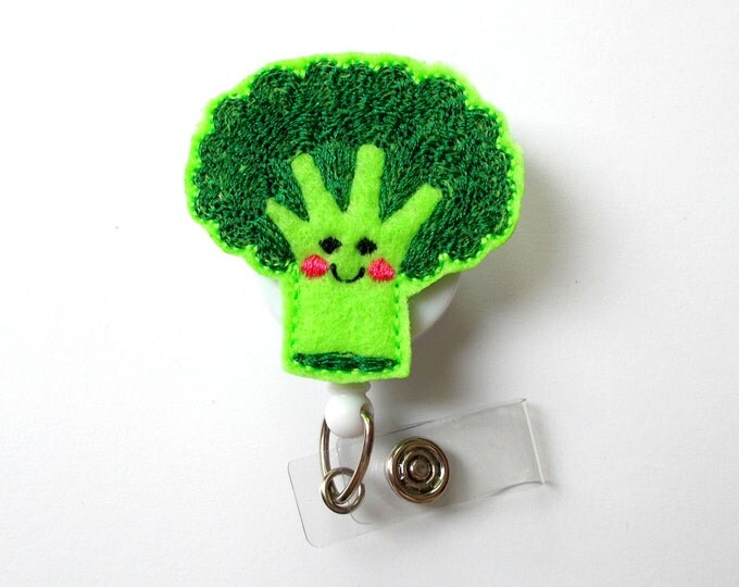 Brenda the Broccoli Spear - ID Felt Badge Holder - Funny Badge Reel - Nurses Badge Holder - Cafeteria Worker Badge - Dietitian Badge - RN