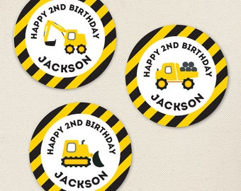 Construction Party - Custom stickers - Sheet of 12 or 24