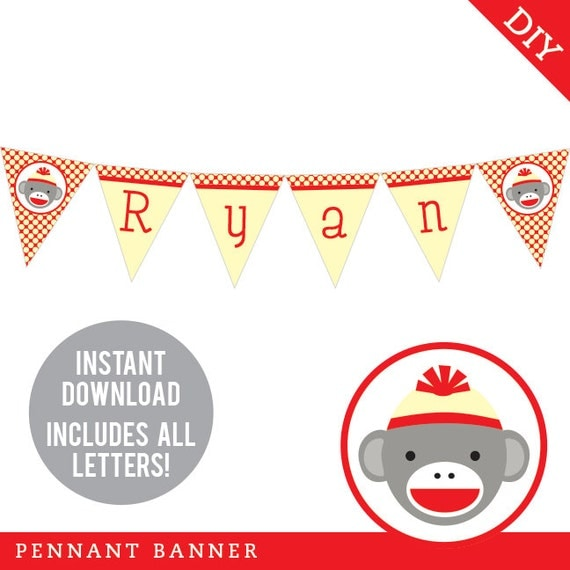 INSTANT DOWNLOAD Sock Monkey Party - DIY printable pennant banner - Includes all letters, plus ages 1-9