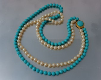 Turquoise glass and Faux Pearl Double Strand Vintage Necklace