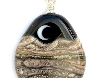 Necklace : Handmade Lampwork Desert Sun Mountain Landscape Focal Bead on .925 Sterling Silver Cotton