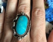 Vintage Old Navajo Turquoise Sterling Silver Ring