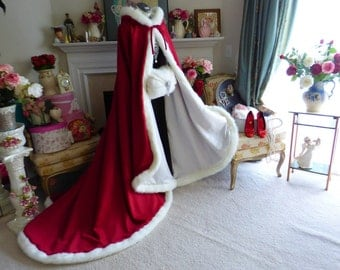 Belle Inspired Medieval Bridal cape Claret / Ivory Satin 52/67 inch Hooded Reversible with Fur Trim Wedding Cloak Handmade in USA