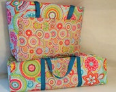 Silhouette Cameo Carrying Case Combo Set/ Laptop Accessory Bag/ Cricut Expression Bag / Turquoise and Pink Medallion Floral Print Fabric