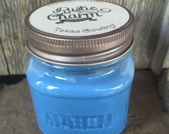 Texas Cowboy Scented Candle 8 oz Square Mason Jar Rustic Charm