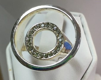 Sterling Silver Double Circle CZ Ring Size 7