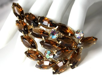 Vintage Open Back Rhinestone Brooch
