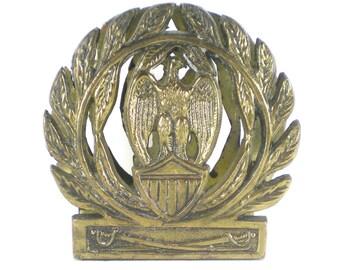 Brass Eagle Olive Branch Wreath Shield Napkin Holder - Mail Letter Holder - Vintage Brass Eagle -Peace Freedom Symbol - Military Style
