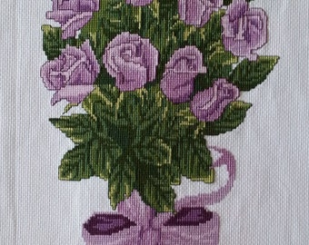 New Finished Completed Cross Stitch - Bouquet of Violet roses - F140