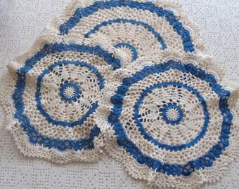 Vintage Crochet Doilies Blue and White 3 Pc.