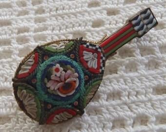 Vintage Brooch Mosaic Mandolin Made in Italy