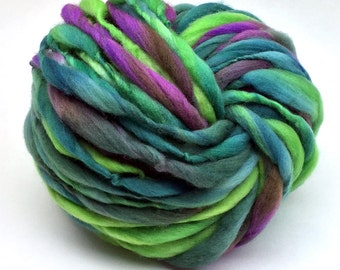 Handspun super bulky yarn, spun thick and thin in merino wool- 50 yards, 3 ounces and 84 grams