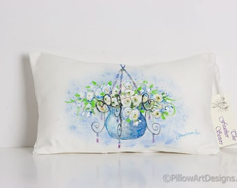 Mini Pillow Blue White Green Hand Painted Summer Flowers 8 X 12 Made in Canada Ready to Ship